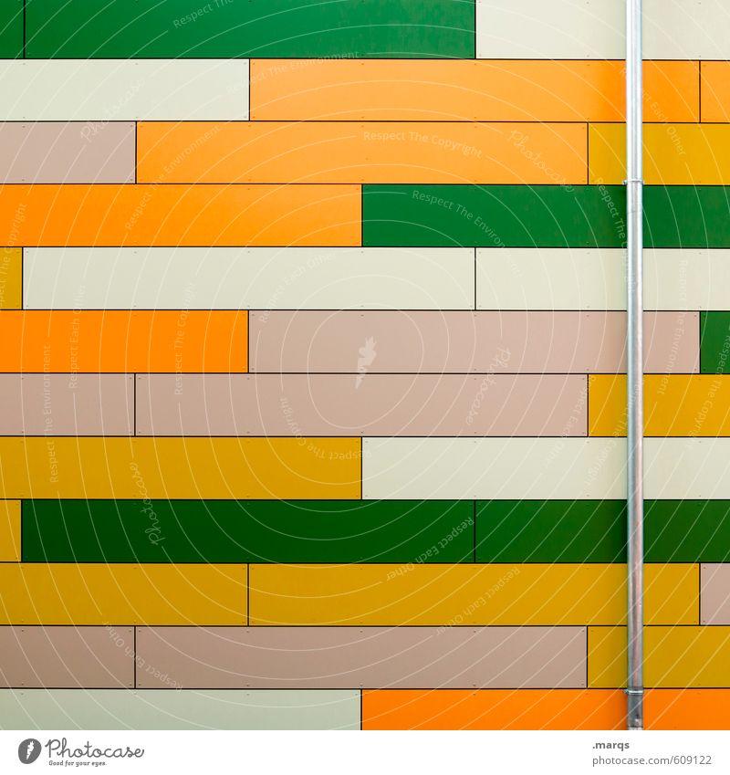horizontal elegant Stil Design Fassade Regenrinne Metall Kunststoff Streifen Coolness frisch hell modern grün orange weiß Farbe Hintergrundbild Farbfoto