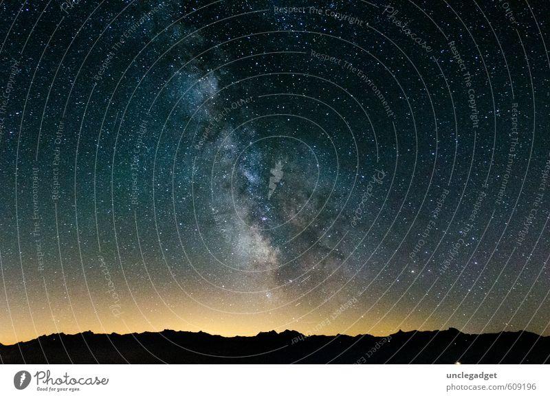 Milchstrasse Himmel Natur schön Einsamkeit Berge u. Gebirge Umwelt Freiheit oben Horizont Idylle fantastisch Zukunft Lebensfreude Stern Abenteuer Hoffnung