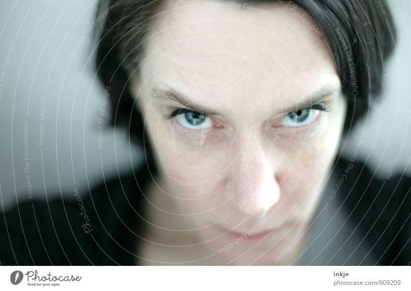 Portrait einer Frau, genervt Lifestyle Stil Erwachsene Leben Gesicht Auge 1 Mensch 30-45 Jahre schwarzhaarig Scheitel beobachten Kommunizieren Blick nah Wut