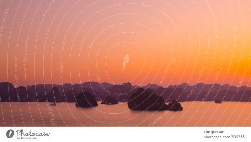 Sunset @ Halong Bay Ferien & Urlaub & Reisen Sommer Meer Erholung ruhig Strand Ferne gelb Schwimmen & Baden Stimmung orange Musik Zufriedenheit Lifestyle