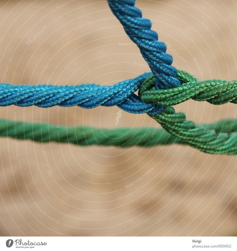 Nahaufnahme verknoteter und verdrehter Seile Kletterseil Kunststoff Schnur Knoten Netzwerk festhalten ästhetisch außergewöhnlich einzigartig lang blau braun