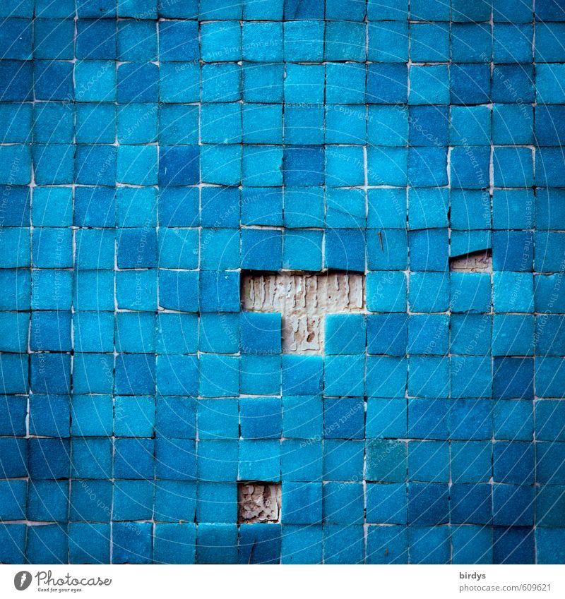 T etris blau Farbe Wand Mauer kaputt Vergänglichkeit Wandel & Veränderung viele Fliesen u. Kacheln Quadrat Originalität Ornament Mosaik Blauton