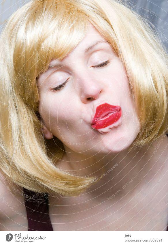 Küssen kann man nicht alleine... Frau Jugendliche rot Junge Frau Erwachsene Erotik Liebe feminin blond Geburtstag Mund retro Romantik Lippen lecker