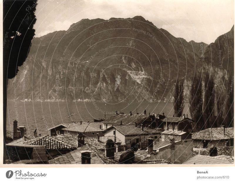 Goldene 50er .3 Fünfziger Jahre Gardasee Ferien & Urlaub & Reisen See Italien Baum Dach Freizeit & Hobby Sommer klassisch schwarz weiß braun Freude