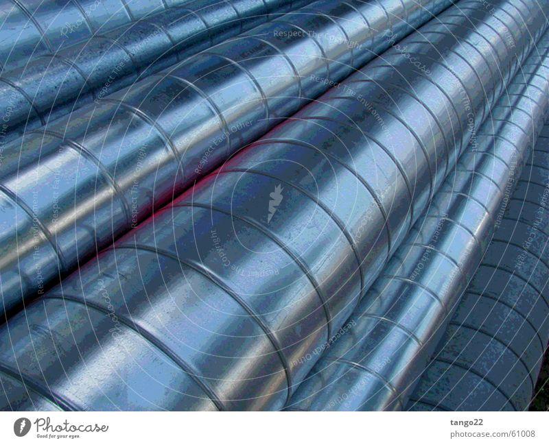volles rohr! blau grau Metall glänzend rund lang Röhren silber Aluminium