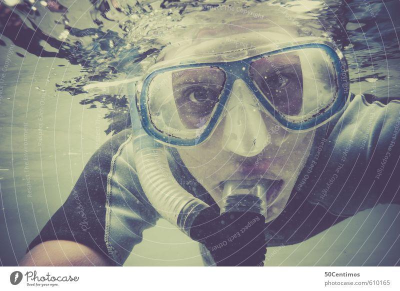 Schnorcheln Ferien & Urlaub & Reisen Tourismus Ausflug Abenteuer Ferne Freiheit Sommer Sommerurlaub Sonne Strand Meer Wassersport tauchen Mensch Junger Mann