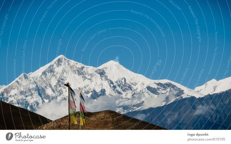 Annapurna Himmel Natur Ferien & Urlaub & Reisen Landschaft Umwelt Berge u. Gebirge Schnee Felsen Klima wandern Abenteuer Gipfel Asien Schneebedeckte Gipfel