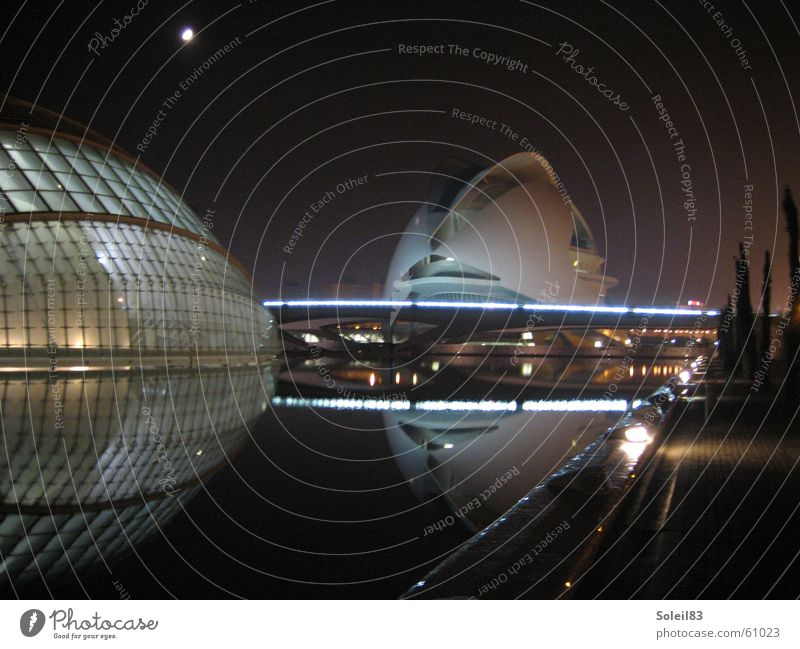 Ciudad de las Artes y las Ciencias Wasser Auge Kunst Beleuchtung Mond Spanien Valencia