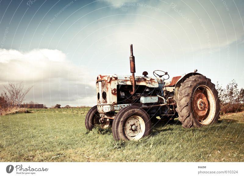 Alter Kollege Freizeit & Hobby Arbeit & Erwerbstätigkeit Landwirtschaft Forstwirtschaft Maschine Umwelt Natur Himmel Wolken Sommer Schönes Wetter Wiese Fahrzeug
