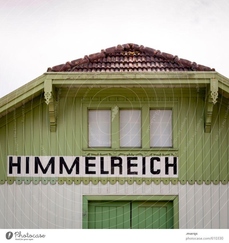 Himmlisch Himmel Haus Fassade Holz Schriftzeichen alt einfach schön grün weiß Trauer Hoffnung Religion & Glaube Tod Vergänglichkeit Paradies Himmel (Jenseits)