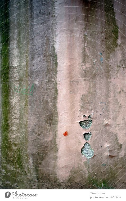 Alles nur Fassade | Das tut nix! Mauer Wand Beton schreien Coolness dunkel grün rosa rot Freude Überraschung Mensch Figur Auge Kopf Geister u. Gespenster