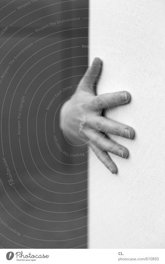 die neue seltsamkeit Mensch Junge Frau Jugendliche Erwachsene Hand Finger 1 30-45 Jahre Mauer Wand berühren festhalten einzigartig Vertrauen Sicherheit Schutz