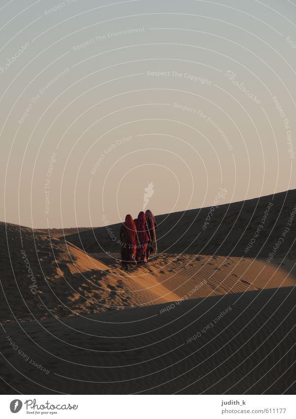 3 women in desert Mensch feminin Frau Erwachsene Natur Erde Sand Himmel Wüste Fußgänger Saree Kopftuch gehen wandern frei Unendlichkeit trocken braun gold