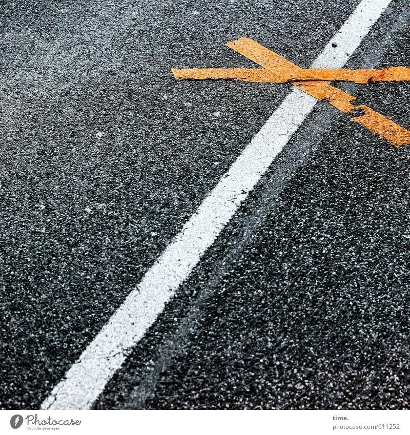 teXtur Stadt schwarz Straße gelb Farbstoff Wege & Pfade Design Linie Verkehr Kommunizieren Ordnung Schilder & Markierungen Hinweisschild Zeichen Baustelle