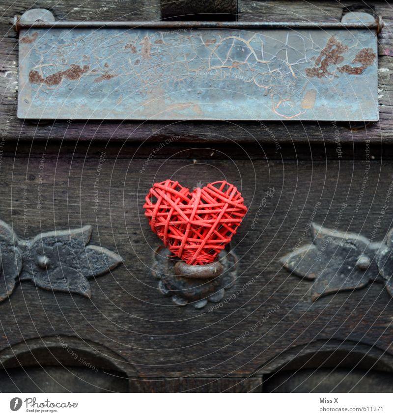 Herz-Botschaft Wohnung Dekoration & Verzierung Valentinstag Muttertag Tür Klingel Holz Gefühle Stimmung Liebe Verliebtheit Romantik Senior Verfall Vergangenheit