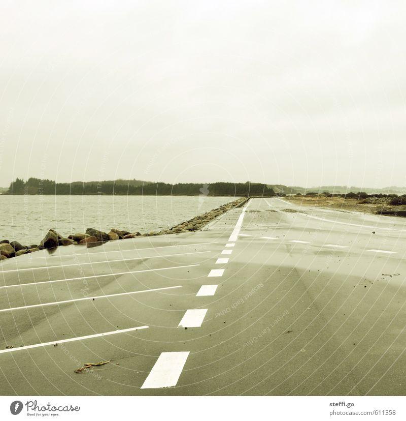somewhere only we know. Ausflug Ferne Freiheit Küste Fjord Dänemark Menschenleer Verkehrswege Straßenverkehr Autofahren Schilder & Markierungen