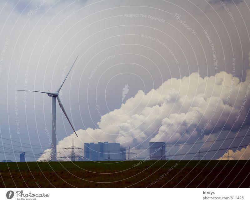 Energiekonzepte Energiewirtschaft Erneuerbare Energie Windkraftanlage Kohlekraftwerk Niederaußem Wolken Klimawandel Feld drehen Rauchen gigantisch Partnerschaft