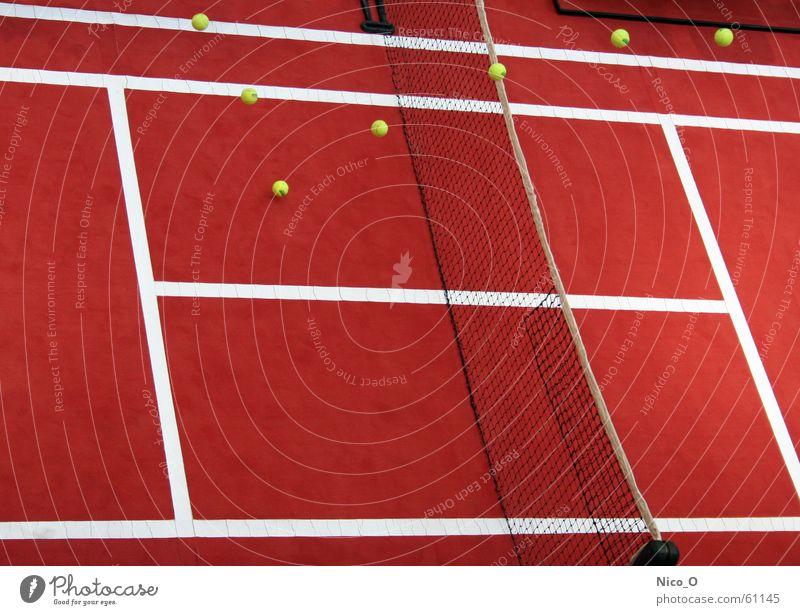Aufschlag! rot Spielen Platz Ball Netz Tennis