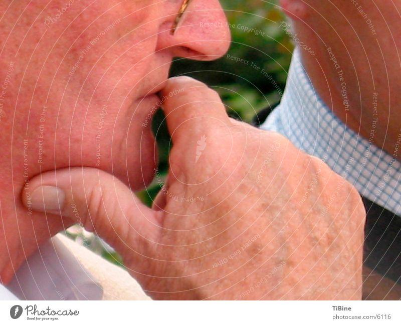 Nachdenklich Mann Hand Senior Denken Männlicher Senior