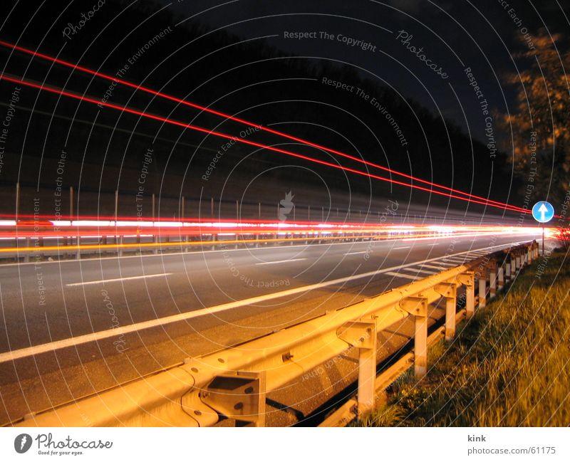 Highway by Night Ferien & Urlaub & Reisen Straße Gras Autobahn