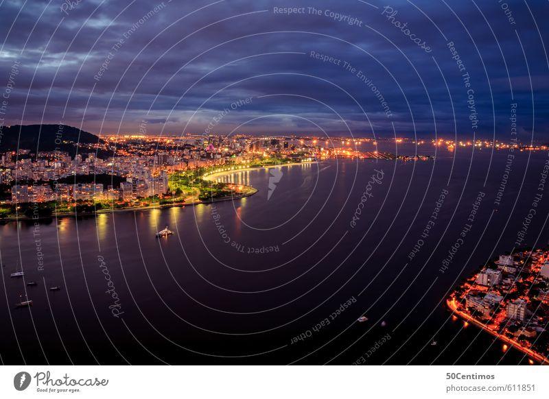Rio de Janeiro bei Nacht Ferien & Urlaub & Reisen Tourismus Ferne Freiheit Sommerurlaub Nachtleben Wolken Klima Klimawandel Wetter Meer Fluss Stadt Hafenstadt
