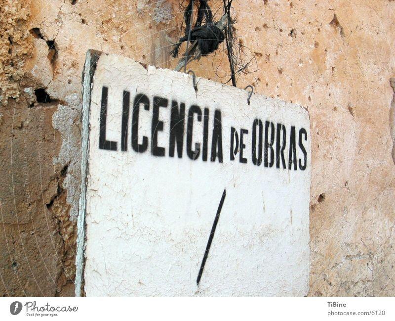 Arbeitserlaubnis Spanien obskur Schilder & Markierungen Licencia de Obras Lizenz
