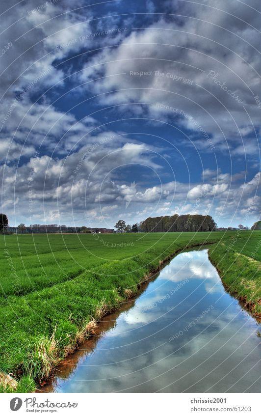 Bach in Winternam Wasser Himmel Baum grün blau ruhig Wolken Gras Landschaft Fluss Sturm Dynamik Bach HDR Gewässer Strömung