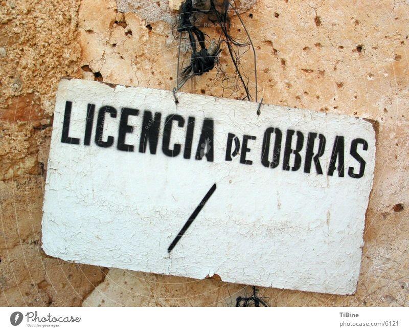 Arbeitserlaubnis die Zweite Spanien obskur Schilder & Markierungen Licencia de Obras