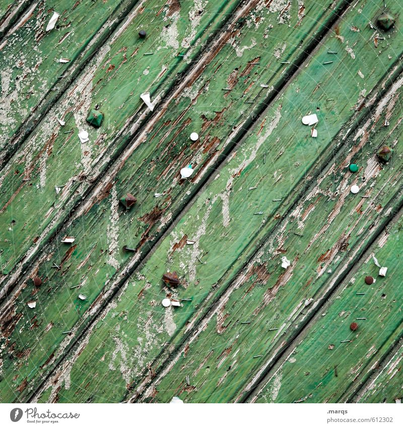 Pinnwand Stil Design Mauer Wand Holzwand Linie alt einzigartig kaputt trashig grün Farbe Verfall Wandel & Veränderung Lack abblättern Hintergrundbild