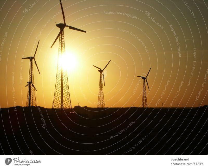 Energiewende Sonne Energiewirtschaft Erneuerbare Energie Windkraftanlage Sonnenaufgang Sonnenuntergang Wärme Feld Hügel Syke Deutschland Europa Kleinstadt