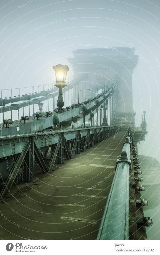 Man muss das Leben eben nehmen... Herbst Nebel Brücke Wege & Pfade alt groß gelb grau grün schwarz Farbfoto Gedeckte Farben Außenaufnahme Menschenleer Tag