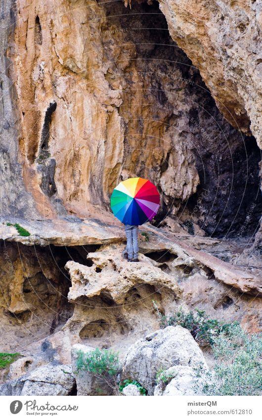 Als wenn man gegen eine Wand... Kunst ästhetisch Zufriedenheit Fernweh Kreativität Idee illustrieren mehrfarbig Farbfleck regenbogenfarben Regenschirm Felsen