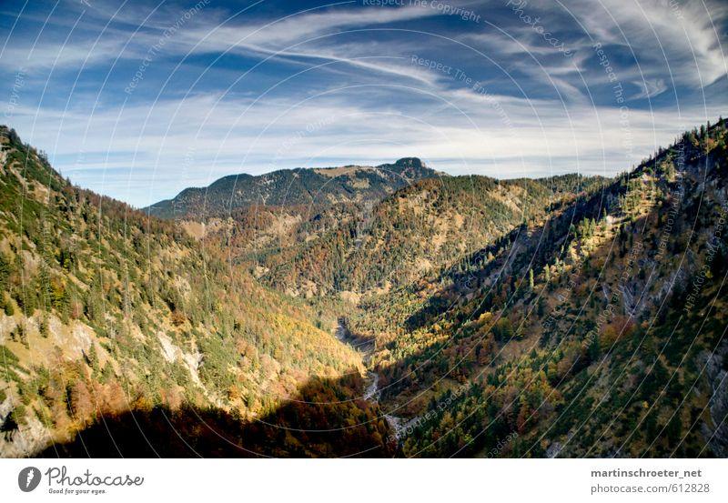Blick in die Wolfsschlucht bei Wildbad Kreuth Himmel Natur Pflanze Landschaft Berge u. Gebirge Herbst Luft wandern Schönes Wetter Alpen