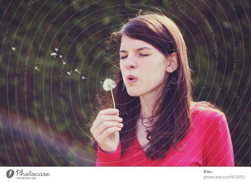 Das kleine Glück. Lifestyle Freude Gesundheit Wohlgefühl Mensch feminin Junge Frau Jugendliche 1 13-18 Jahre Kind Natur Frühling Sommer Schönes Wetter Blume