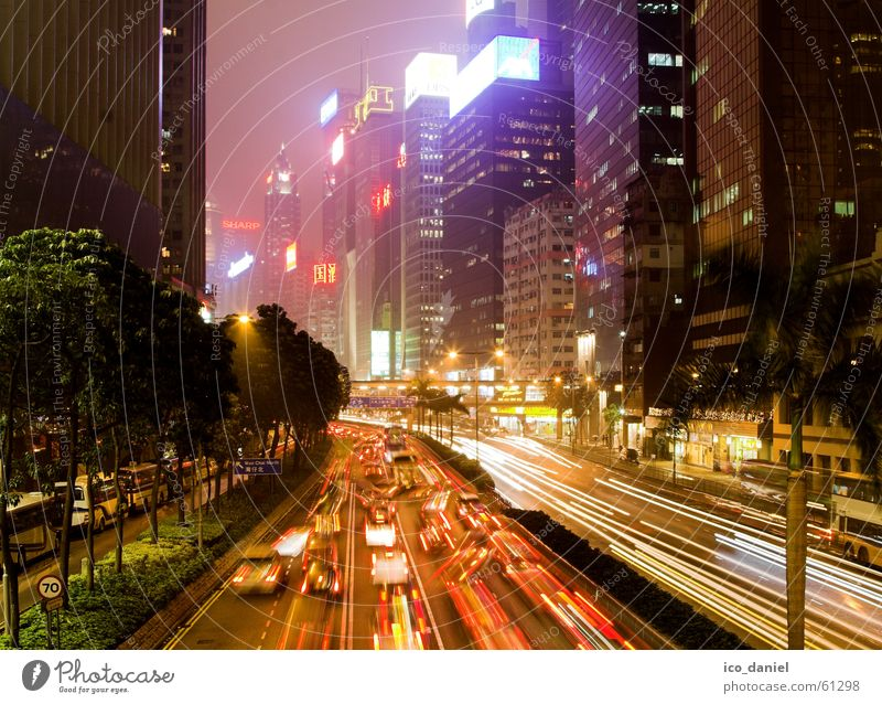 Hong Kong Lights Stadt Farbe Gebäude hell Wind Nebel Hochhaus Verkehr Geschwindigkeit Häusliches Leben fahren Asphalt Asien Autobahn China Verkehrswege