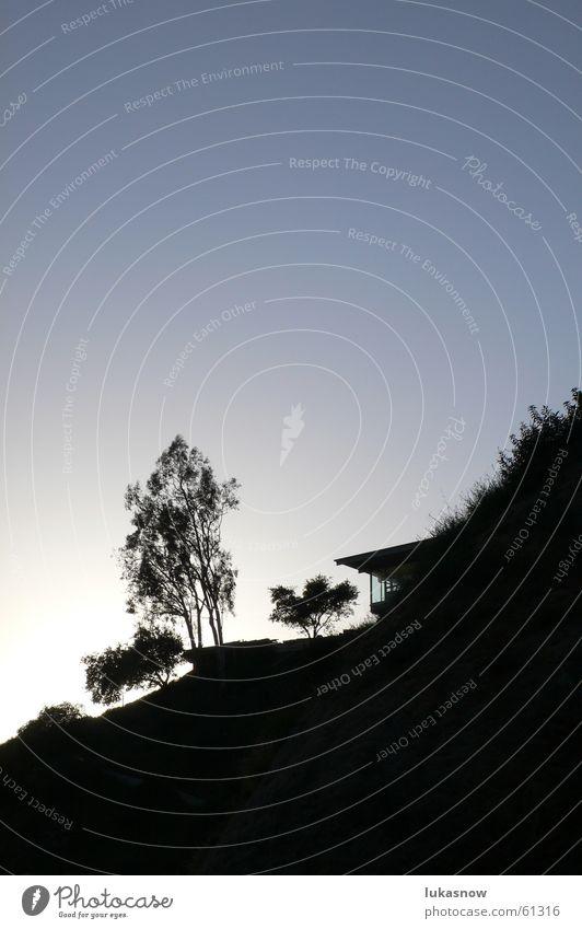 Hollywood Los Angeles Filmstar Villa Haus Verglasung Baum Gegenlicht Physik groß Sträucher Glas verglast Silhouette Wärme Abend Berge u. Gebirge Reichtum
