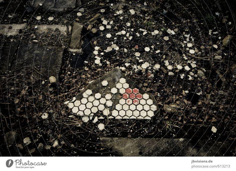 Wandfliese am Boden zerstört Bodenbelag gehen alt kaputt Muster heruntergekommen Fliesen u. Kacheln dreckig rot weiß chaotisch Zerstörung Vergänglichkeit