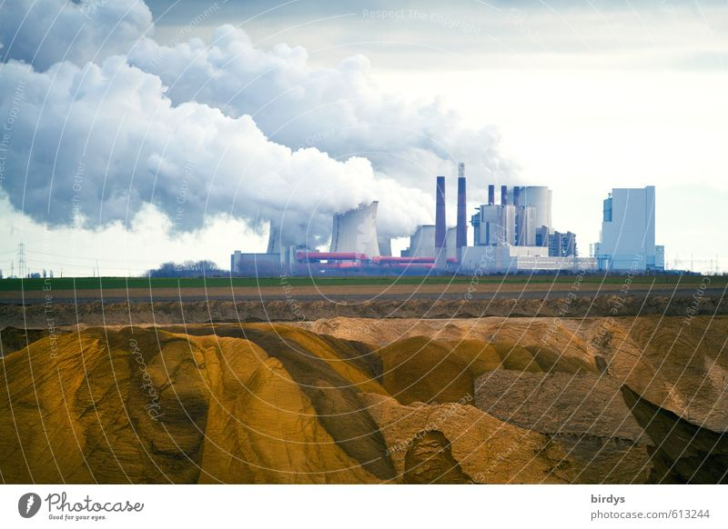 Konfliktstoff Braunkohle Natur Wolken Feld dreckig Energiewirtschaft Wandel & Veränderung Industrie Rauchen Politik & Staat Umweltverschmutzung gigantisch Braunkohlentagebau Braunkohle Kohlekraftwerk Kühlturm CO2-Ausstoß