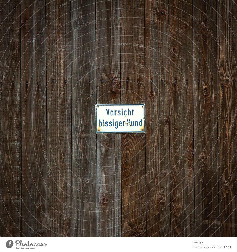 dito Mauer Wand Holz Schriftzeichen Hinweisschild Warnschild bedrohlich rebellisch braun weiß Mut achtsam Wachsamkeit gefährlich Schutz bissig Hund Warnhinweis