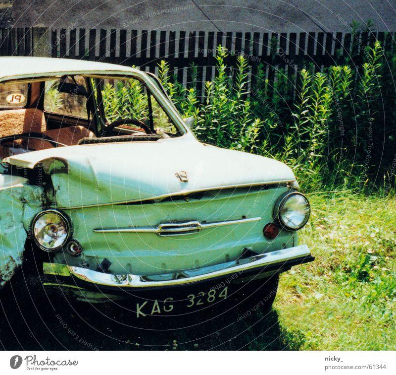 der mann is doof das auto rockt Wiese Wand Garten PKW Rasen kaputt Klarheit türkis Schrott