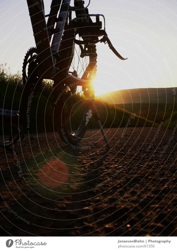 Pause Sonne Straße Erholung Berge u. Gebirge Wege & Pfade Fahrrad stehen Fußweg Kette Abenddämmerung Zahnrad Pedal Fahrradtour Ständer