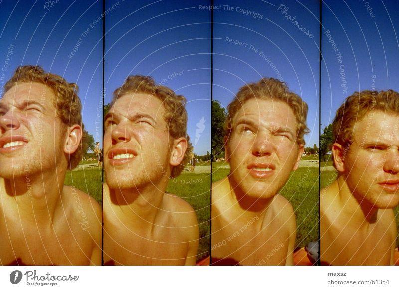 Supersampler Selfportrait Himmel Sonne blau Sommer Gesicht Lomografie dumm Selbstportrait Baggersee Badesee Tankumsee Landkreis Gifhorn