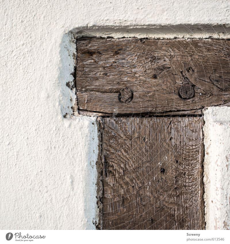 Holzimplantat alt weiß Wand Mauer Architektur Stil Stein braun Kraft authentisch Vergänglichkeit Schutz historisch Burg oder Schloss Dorf