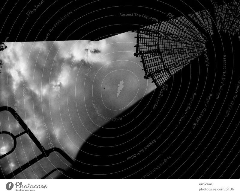 cuting edges Wolken rund weiß Architektur Treppe eckig schwarz