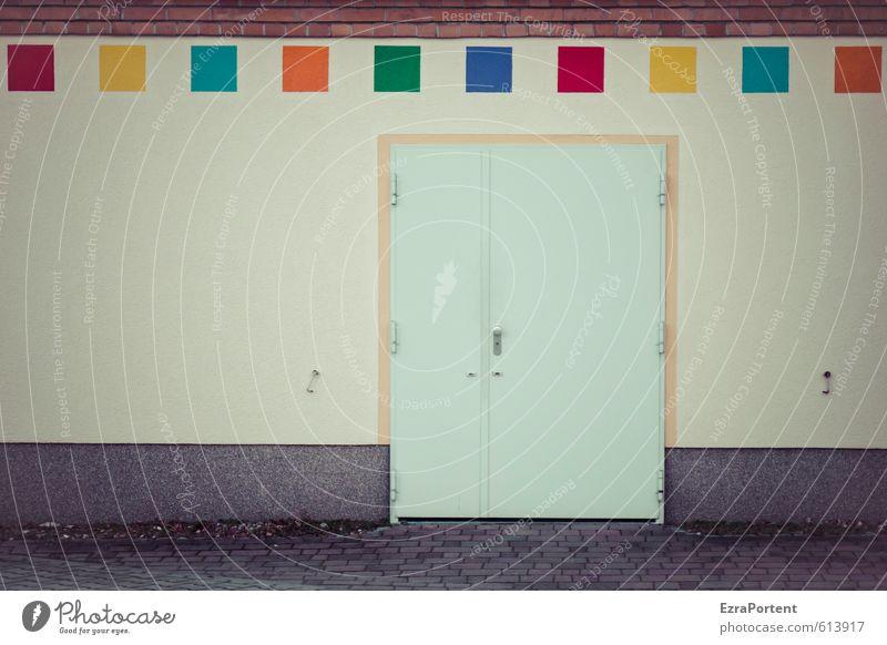 trendy Haus Fabrik Bauwerk Gebäude Architektur Mauer Wand Fassade Stein Beton Metall Zeichen außergewöhnlich hässlich trashig Stadt blau gelb grau grün orange