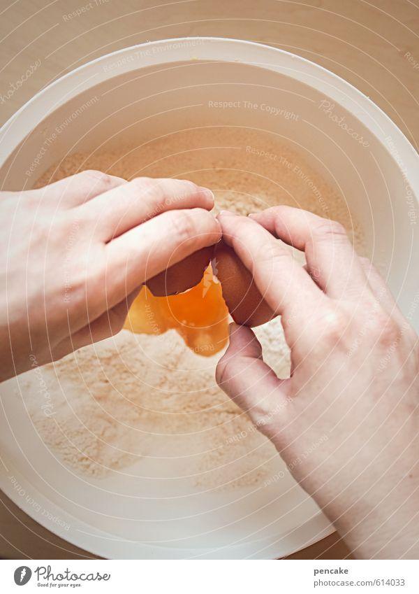 noch'n ei Jugendliche Hand 18-30 Jahre Erwachsene gelb Essen feminin Gesundheit Lebensmittel orange genießen Kochen & Garen & Backen Küche Duft Ei Schalen & Schüsseln