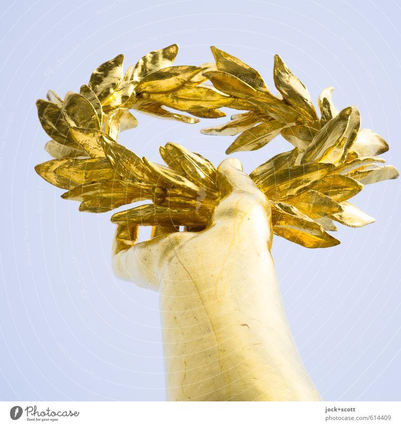 dann werden wir eben siegen Hand Skulptur Sehenswürdigkeit Siegessäule Lorbeer Kranz festhalten elegant Erfolg historisch oben Originalität Ehre Qualität