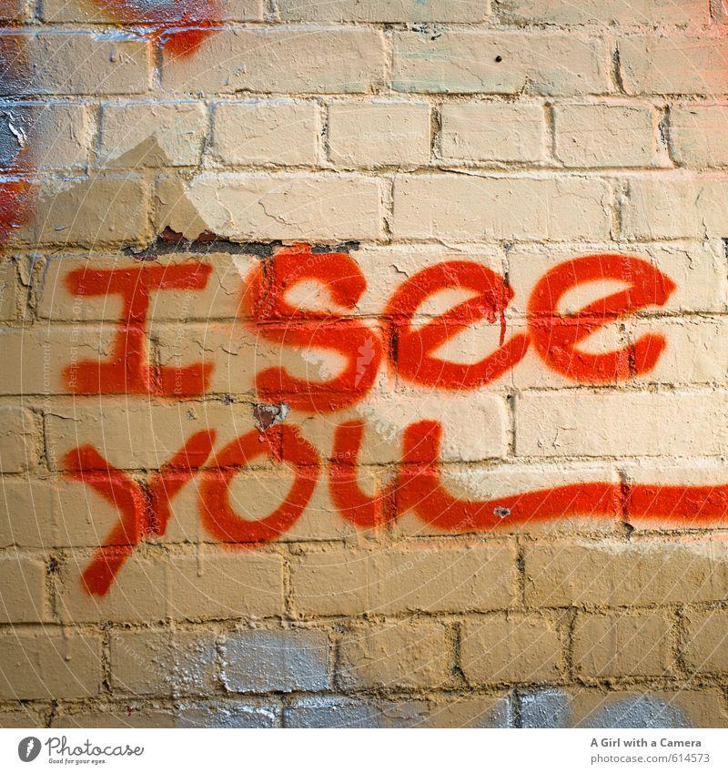 I see you Mauer Wand Kreativität aussagekräftig Graffiti sprühen Blick Information Farbfoto mehrfarbig Außenaufnahme Detailaufnahme Experiment abstrakt Muster