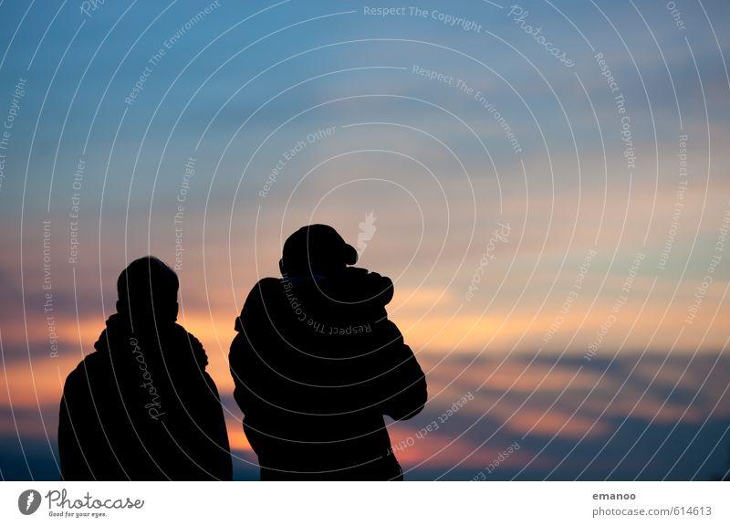 Die Frau des Fotografen Mensch Himmel Ferien & Urlaub & Reisen blau Sommer Erholung Wolken Freude Ferne schwarz Berge u. Gebirge Leben Stil Freiheit Paar Freundschaft