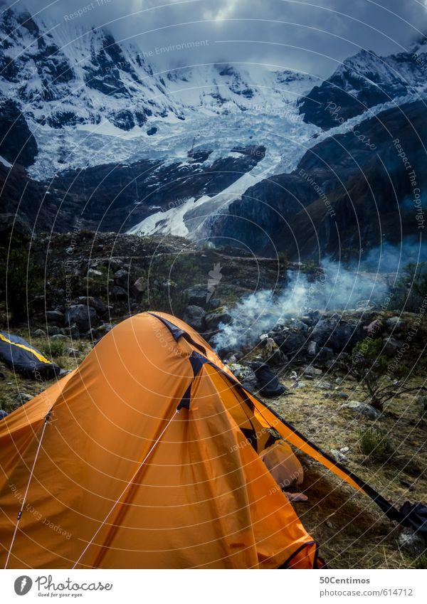 Camping in den am Rand der Gletscher Natur Ferien & Urlaub & Reisen Erholung Wolken Winter Ferne Umwelt Berge u. Gebirge Wiese Schnee Freiheit Freizeit & Hobby Tourismus wandern Ausflug schlafen